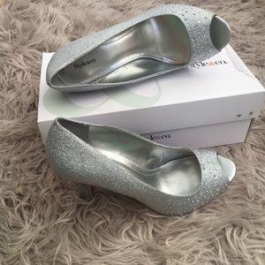 Silver peep toe shoes